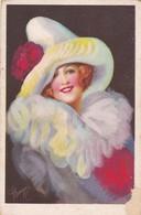 PIERROT COLUMBINE HARLEQUIN ILLUSTRATION ARTISTE A IDENTIFIER CPA VOYAGEE YEAR 1928 - BLEUP - Illustrateurs & Photographes