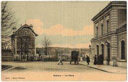 """SCEAUX Carte Toilée Colorisée : """" LA GARE """" - Circulé Vers NEUILLY SUR SEINE  - CHEMINS DE FER SNCF - Chemins De Fer"""