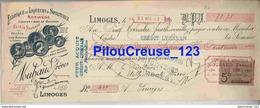 """87 Haute Vienne - LIMOGES - """" Mandat à Ordre - Fabrique De Liqueurs & Spiritueux NOUHAUD Frères Du 21/10/1923 """" - Food"""