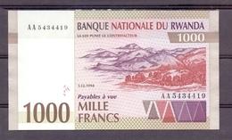 Rwanda 1000 Fr 1994 UNC  1 Year Type  Rare - Billets
