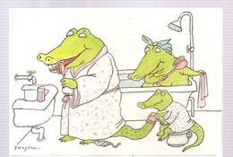 CPA Tomi Ungeret Famille Crocodile Dans La Salle De Bain - Ungerer