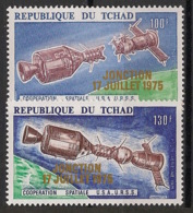 Tchad - 1975 - PA N°Yv. 163 à 164 - Espace - Gold Ovpt. - Neuf Luxe ** / MNH / Postfrisch - Afrika