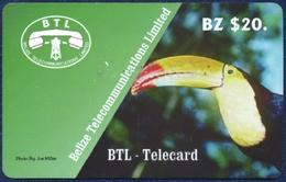 BELIZE BTL 20 BZ DOLLARS PRE-PAID REMOTE MEMORY PHONECARD TELECARTE FAUNA BIRD TOUCAN TOEKAN - Belize