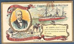 Chromo Chocolat Guerin-Boutron Les Bienfaiteurs De L'Humanité - DE LESSEPS Bienfaiteur Canal Suez Egypte Diplomate - Guérin-Boutron