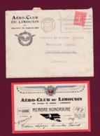 200519 - AVIATION Carte De Membre Honoraire AERO CLUB DU LIMOUSIN 36 Avenue De Juillet LIMOGES Expo 1931 - Advertisements