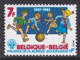 TIMBRE NEUF DE BELGIQUE - 75E ANNIVERSAIRE DU SCOUTISME : JEUX ENTRE LUTINS ET LOUVETEAUX N° Y&T 2065 - Scouting