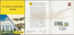 "Bund: Minister Card - Ministerkarte, Mi-Nr. 1967 U. 1976 SST, "" 50 Jahre Luftbrücke Berlin ""    X - Covers & Documents"