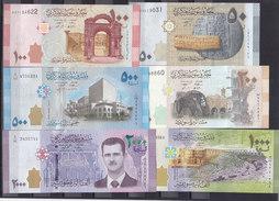 SYRIA 50 100 200 500 1000 2000 LIRA 2009 2013 2015 P 112 113 114 115 116 117  UNC SET - Syria