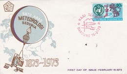SATU ABAD METEOROLOGI SEDUNIA 1873~1973 FDC OBLITEREE HARI TERBIT YEAR 1973 ENVELOPPE - BLEUP - Indonesia