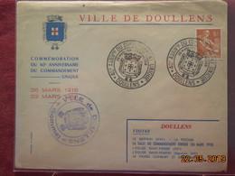Lettre De 1958 ( 40eme Anniversaire Du Commandement Unique) Doullens - Cachets Commémoratifs