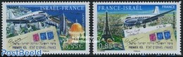 France 2008 Israel-France Flight 2v, Joint Issue Israel, (Mint NH), Transport - Aircraft & Aviation - Various - Joint Is - Nuovi
