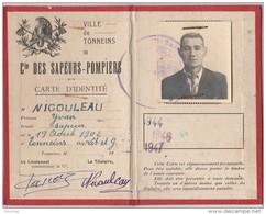 S13- 47) VILLE DE TONNEINS - COMPAGNIE DES  SAPEURS  POMPIERS  - CARTE D'IDENTITE DE 1944 - 2 SCANS) - Tonneins