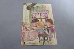 BELLE ILLUSTRATION ...JEUNES ENFANTS A TABLE....PAMELA ET SES AMIS ... - Illustrateurs & Photographes
