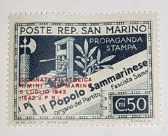 1943 San Marino Journée Philatelique Rimini - San Marino Filigrane - Unused Stamps