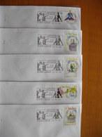 Réunion : Cinq Lettres Avec La Série Complète Le Petit Prince De 1998 Et Oblitérations Mécaniques Des Camélias - Reunion Island (1852-1975)
