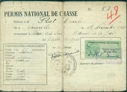 FRANCE PERMIS DE CHASSE NATIONAL Avec Vignette Verte 1955 / 56.vaux Sur Seine - Fiscaux