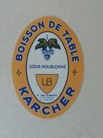 étiquette Ancienne Boisson De Table Karcher A. Balzinger, Le Pré St Gervais - Alte Papiere