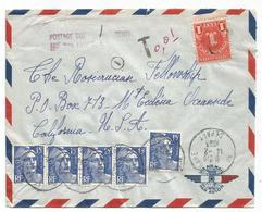 GANDON 15FR BLEUX5 LETTRE AVION PARIS 14.2.1953 POUR USA POUR TAXE 1C - 1945-54 Marianne Of Gandon