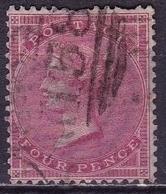 G.B. 1855/57 Queen Victoria WM Middle Belt (4y) 4 D Red SG 66a - Gebruikt