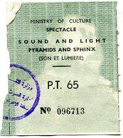 Tickets D'entrée- Egypte- Son Et Lumieres-  Pyramides Et Sphinx - Tickets - Vouchers