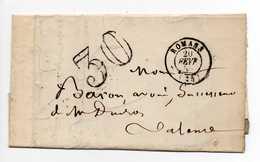 - Lettre ROMANS (Drôme) Pour VALENCE 20 FEVR 1859 - Taxe Tampon 30 Centimes - A ETUDIER - - Postmark Collection (Covers)
