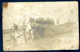 Cpa Carte Photo Débarquement De Matelots Photographe Arnault Photo Le Tréport Villefranche Sur Mer  JM10 - A Identifier