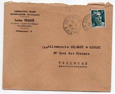 1945--lettre De MONPAZIER-24 Pour Toulouse-cachet Rond--type M.Gandon--personnalisée Labo-Pharmacie PRADIE - 1921-1960: Période Moderne