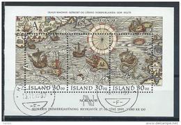 Islande Bloc N° 10 Oblitéré Jounée Du Timbre 1989 Et Expo Nordia Avec Carte Et Bateaux - Hojas Y Bloques