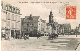 CPA 51- REIMS - Place Drouet D'Erlon Et Eglise Saint-Jacques- Pharmacie-Auto-Scans Recto Verso -Paypal Sans Frais - Reims