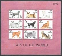 M729 BHUTAN FAUNA PETS CATS OF THE WORLD 1KB MNH - Gatti