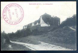 Cpa Mauléon Château Fort Cachet Train Sanitaire N°6 Semi Permanent    JM6 - Postmark Collection (Covers)