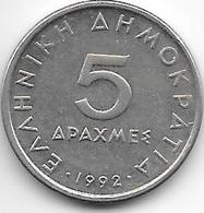 *greece 5 Drachmes  1992  Km 131 Unc - Grèce