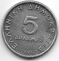 *greece 5 Drachmes  1990  Km 131 Unc - Grèce