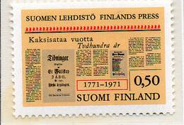PIA - FINLANDIA - 1971 : 200°  Della Stampa Finlandese-  - (Yv 656) - Finlandia