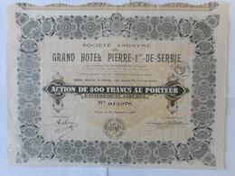 Grand Hotel PIERRE 1er De SERBIE   PARIS 1927 - Aandelen