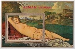 """Bf. 286 Ajman 1971 """" Venere Dormiente """" - Quadro Dipinto Da Giorgione E Tiziano - Rinascimento Preobliterato Paintings - Ajman"""