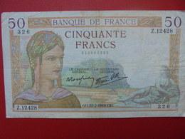 FRANCE 50 FRANCS 1940 CIRCULER (B.1) - 1871-1952 Anciens Francs Circulés Au XXème