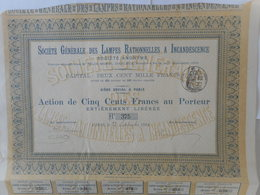 Ste Ge Des LAMPES Rationnelles à INCANDESCENCE 1890 PARIS - Aandelen