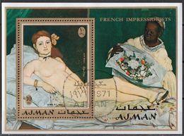 "Bf. 274A Ajman 1971 "" OLYMPIA  "" Quadro Dipinto Da E. Manet Impressionismo Sheet Perf. Paintings Tableaux - Nudes"