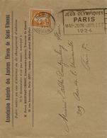 1924-enveloppe Ouverte Affr. 5 C N°158 Seul Oblit. Paris Départ / Jeux Olympiques - 1921-1960: Modern Period
