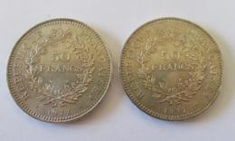 France - 2 Monnaies 50 Francs Hercule 1977 En Argent - SUP / SPL - Achat Immédiat - Légèrement Patinées - M. 50 Francs