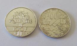France - 2 Monnaies 100 Francs Zola Et Fraternité 1985 / 1988 En Argent - SUP - Achat Immédiat - France