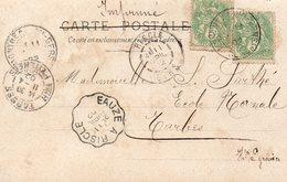 JM CARTE POSTALE 5 C VERT TYPE BLANC X 2 ET OBLITERATION EAUZE A RISCLE 1902 - Storia Postale