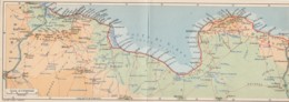 Libya Map Double Postcard Tripoli Albergo Del Mehari - Libye