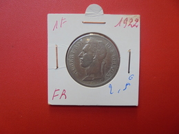 CONGO BELGE 1 FRANC 1922 FR - Congo (Belge) & Ruanda-Urundi