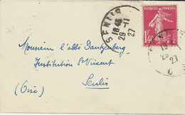 1927 - Enveloppe Carte De Visite Affr. Semeuse 1,40 F N°196   !! - Marcophilie (Lettres)