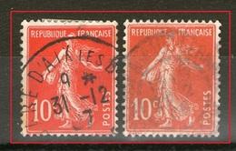 N° 138IAe°_Ecarlate - Aix Les Bains (Gare) 31/12/1907_cote 60.00_+ 138° Rouge - 1906-38 Semeuse Camée