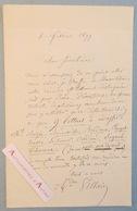 L.A.S 1877 André VILLAIN Peintre Lettres Bazin Bénouville Bridoux Clerget Besse Lesueur Signol Oudiné Lettre Autographe - Autographes