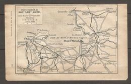 CARTE TOPOGRAPHIQUE 1924 VOIES D'ACCES AU MONT SAINT MICHEL ROUTES CARROSSABLES - GRANVILLE DINAN AVRANCHES ANTRAIN - Cartes Topographiques