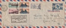Nouvelle Calédonie Lettre Premier Voyage Régulier NOUMEA PARIS Par Air France 4/10/1949 - Manque 1 Timbre - Luftpost